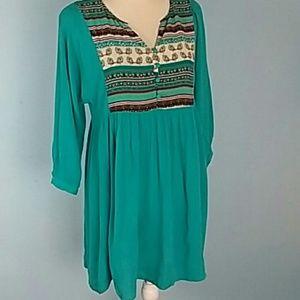 Umgee turquoise boho dress XL
